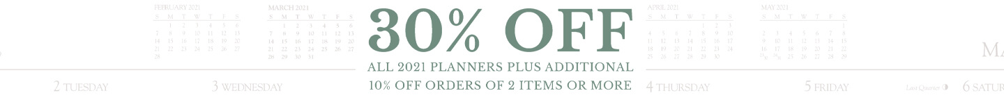 Explore our 2021 planners for 30% off